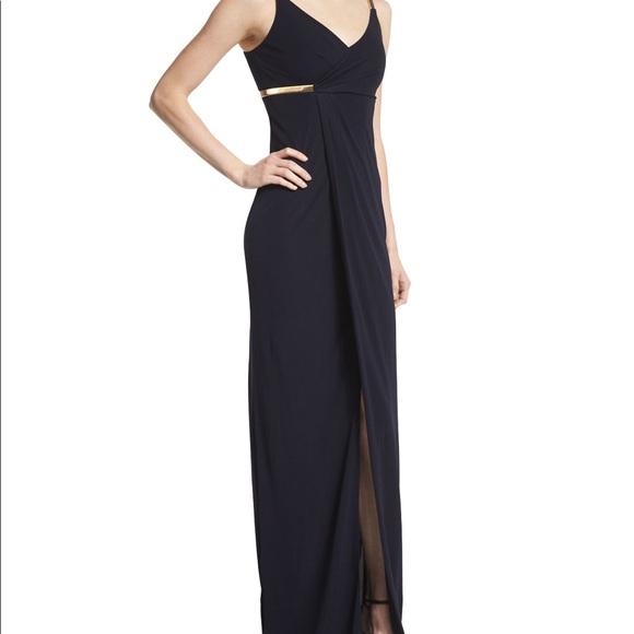 David Meister Dresses | Nwot Faux Wrap Navy Gown Sz 6 | Poshmark